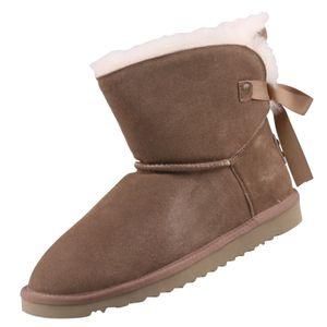Mustang Damen Leder Stiefel Beige Lammfell, Schuhgröße:EUR 43