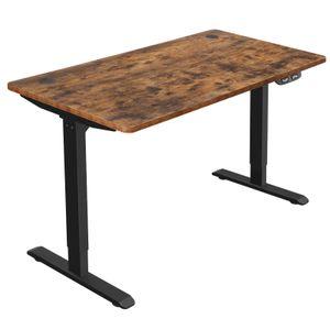 SONGMICS Elektrischer Schreibtisch, höhenverstellbar Schreibtisch, Schreibtischständer, Tischgestell mit Motor, 140 x 70 x (73-114) cm, Stahl, vintagebraun-schwarz LSD012B01