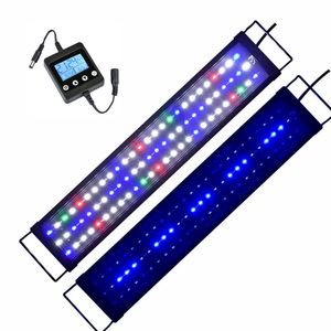 60-80cm LED Aquarium Beleuchtung mit Timer Vollspektrum RGB Abdeckung Aufsatzleuchte Lampe Leuchte Tank
