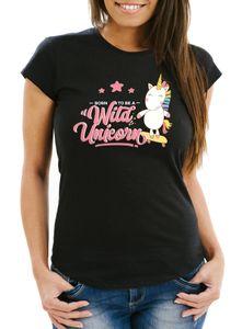Damen Einhorn T-Shirt Born to be a wild unicorn Einhorn auf Skateboard Slim Fit Moonworks® schwarz S