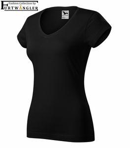 T-Shirt schwarz L Damenshirt V-Ausschnitt Furtwängler Fit V-Neck 180 g/m² Baumwolle