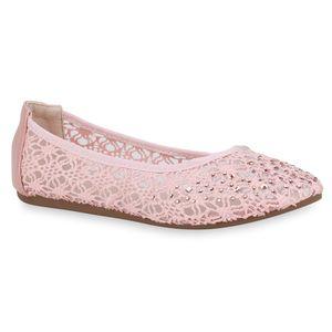 Mytrendshoe Damen Klassische Ballerinas Spitzenstoff Flats Strass Slipper 832917, Farbe: Rosa, Größe: 37