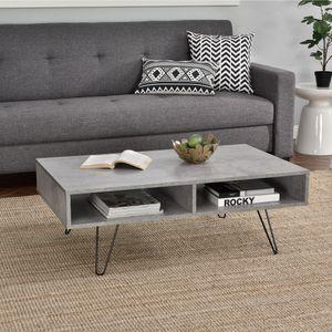 [en.casa]® Couch-Tisch - Beton-Optik - 100x60x35cm - Beistelltisch Wohnzimmer mit Hairpinleg - 2 Ablageflächen