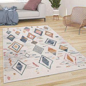 Teppich Wohnzimmer Kurzflor Modern Abstraktes Boho Skandi Rauten Muster Pastell, Grösse:80x150 cm