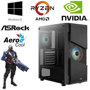 Gaming PC - AMD Ryzen 5 3600, 6 Core 4,2 GHz - 16GB RAM - 256GB SSD - NVIDIA GT 1030 - Gamer -  RGB AeroCool Gehäuse und WLAN