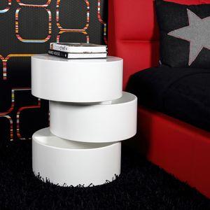 Selsey Beistelltisch KALNIK - Couchtisch in Zylinderform mit Stauraum, Weiß, Ø 40 cm