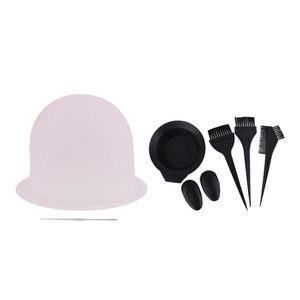 5-teiliges Profi Färbeset Färbeschale, Färbepinsel mit Kamm, Friseur Ohrenkappen + Strähnenhaube Silikonhaube mit Strähnennadel