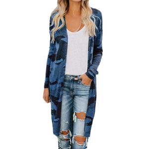 Damen Damen Long Cardigan Camouflage Langarm Mantel Outerwear Größe:5XL,Farbe:Blau