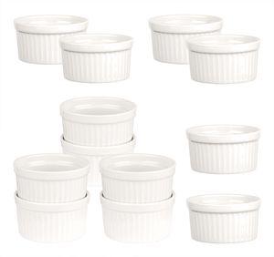 12x Ragout Fin-Schalen 11 cm 270 ml - Weiß - Feuerfest - Aus Keramik - Für Creme Brulee & Souffle