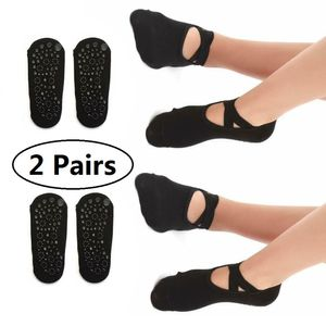 Favson 2 Paar Yoga-Socken für Frauen, rutschfeste Griffe und Gurte, ideal für Pilates, reines Barre-, Ballett-, Tanz- und Barfuß-Training