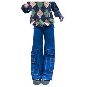 Lässige All-Match-Bootcut-Hose für Damen Schlanke Jeans mit weitem Bein und mehreren Taschen Größe:L,Farbe:Blau