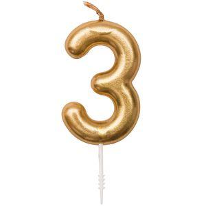 Zahlenkerze Zahl 3 Farbe Gold