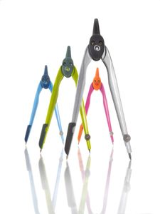 4x Herlitz Zirkelkasten / Farbe: je 1x schwarz, lemon, pink und blau