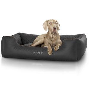 Knuffelwuff gestepptes Leder Hundebett Milan Schwarz / XXL 120 x 85cm