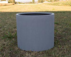 Pflanzkübel Fiberglas, zylindrisch D60xH50cm grau.
