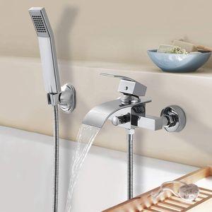 Badarmatur Duscharmatur Duschset  Wasserhahn  mit Handbrause   Dusche  Wasserfall Wandmontage  Badewannenarmatur    Duschsysteme  für Badezimmer und Küchen Wandhalterung