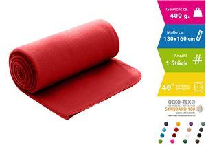 WOMETO Polar- Fleecedecke 130x160 cm ca. 400g wertiges Gewicht mit Anti-Pilling Kettelrand Farbe rot (viele Farben)