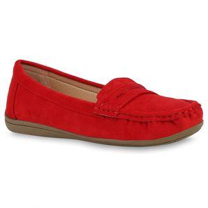 Mytrendshoe Damen Slipper Mokassins Bequeme Slip On Schuhe 832662, Farbe: Rot, Größe: 36