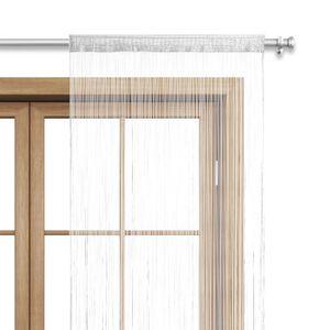 WOMETO Fadenvorhang Türvorhang Fäden 90x245 cm weiß - Stangendurchzug kürzbar waschbar uni einfarbig in vielen bunten Farben