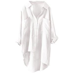 Damen Baumwolle Leinen Langarm Tasche Mittellanges Hemd T-Shirt,Farbe: Weiß,Größe:XL