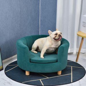 PawHut Hundesofa mit Weichem Bezug Rundes Hundebett Haustiersofa mit Holzbeinen 65 x 64 x 37 cm