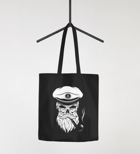 Jutebeutel Kapitän Totenkopf Captain Skull Hipster Baumwolltasche Stoffbeutel stofftasche Autiga® schwarz 2 lange Henkel