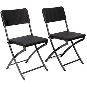 Vanage 2Er Set Gartenstuhl Klappstuhl Hochlehner Liegestuhl schwarz Klappbar