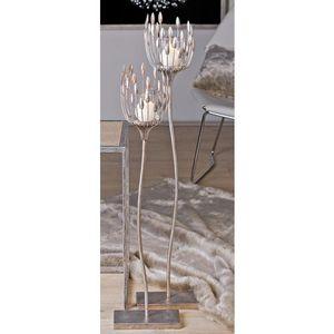 Casablanca Leuchter Trevi Met.ant.sil B m.Glas 2er Set   H.106/D 18 cm