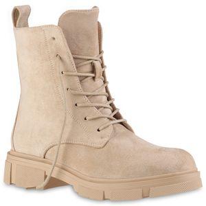 VAN HILL Damen Leicht Gefütterte Schnürstiefeletten Profil-Sohle Schuhe 837848, Farbe: Beige, Größe: 40
