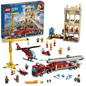 LEGO 60216 City Feuerwehr in der Stadt, Spielzeug für Kinder ab 6 Jahre, inklusive Feuerwehrauto, Kran, Hubschrauber und 7 Minifiguren