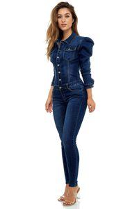 Damen Denim Jeans Anzug Overall Jumpsuit Hosenanzug Einteiler Playsuit Combi Blaumann, Farben:Blau, Größe:40