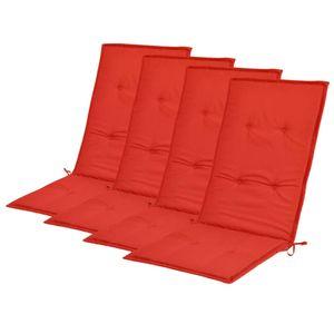 vidaXL Gartenstuhl Auflage Hochlehner 4 Stk. Rot 120 x 50 x 3 cm