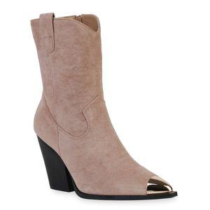 Mytrendshoe Damen Stiefeletten Cowboy Boots Stiefel Schuhe 835778, Farbe: Nude Velours, Größe: 41