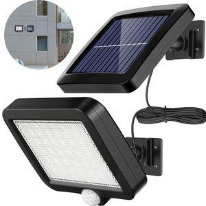Solarlampen für Außen mit Bewegungsmelder, 56 LED Strahler Außen 120° Superhelle Solarleuchten für Außen LED IP65 Wasserdichte  Solar Wandleuchte mit 5m Kabel, LED Solarleuchte