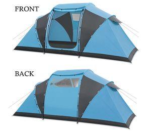 6-8 Personen Outdoor Camping Zelt Familienzelt Regenschutz Outdoor Klettern Camping Zelt 485x240x195 cm, Blau