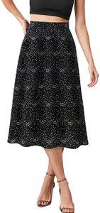 Damen Floral Taille SommerA Line Chiffon Blumen Midi1-schwarz Klein Weiß Punkte L 1-schwarz Klein Weiß Punkte L