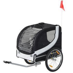 PawHut Hundeanhänger Fahrradanhänger Hundetransporter Hunde Fahrrad Anhänger Schwarz 130 x 73 x 90 cm