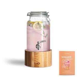 Springlane Glas Getränkespender Greta mit Edelstahl-Zapfhahn & Ständer aus Eichenholz, Limonaden-Spender, Vintage Design Mason Jar Getränkespender 3,8 L
