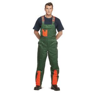 Schnittschutzhose Klasse 1, Forsthose WOODSafe®, kwf-, Latzhose grün/orange, Herren - Waldarbeiterhose mit Schnittschutz Form A, leichtes Gewicht - Größe 50