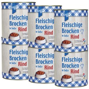 Schecko fit Fleischige Brocken in Soße - Rind 6 x 800g Kräftiges Menü aus größeren Brocken mit Rind in leckerer Soße. Ein Genuss für alle Hunde.