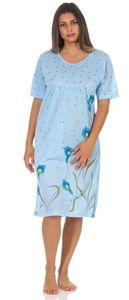 Damen Nachthemd Sleepshirt Nachtwäsche mit Muster, Blau XL