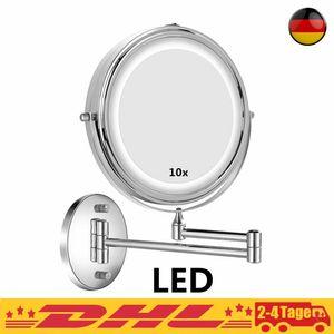 Kosmetikspiegel LED Beleuchtet mit 1X / 10X Vergrößerung, Dimmbarer Schminkspiegel, Rasierspiegel 360° Schwenkbar Wandmontage für Badezimmer, Spa und Hotel