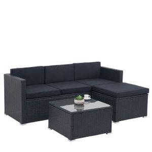 Poly-Rattan Garnitur HWC-F40, Balkon-/Garten-/Lounge-Set Sitzgruppe, 3er Sofa Tisch  anthrazit, Kissen dunkelgrau