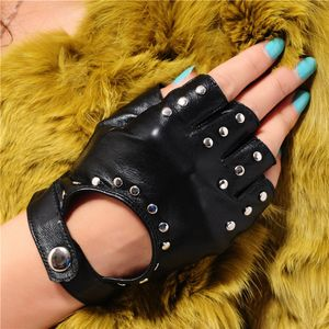 Frauen Punk Nieten Halbe Finger Leder Fingerlose Handschuhe Fahren Radfahren M Schwarz Fahrhandschuhe