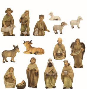 Weihnachtsfiguren Krippenfiguren in gebeizt modern 15-teilig in Größe ca.10cm