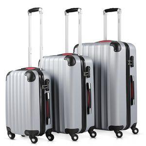 Monzana® 3tlg. Kofferset Baseline | M-L-XL | Gel-Griffe | Kantenschutz | Schloss | Trolley Hartschalen Koffer Reisekoffer Set, Farbe:silber