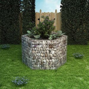 Sechseckiges Gabionen-Hochbeet Garten-Hochbeet Hochbeet 160×140×100 cm