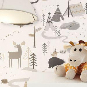 Kindertapete Kinderzimmer Grau Papier Kinder Kinder Niedlich  Elch Zelte Wald Palemond - Muster 2