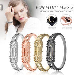 Edelstahl Ersetzen Uhrenarmbänder Armband Strap für Fitbit Flex 2 Farbe: Schwarz