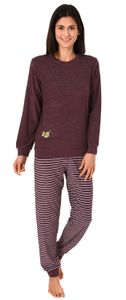 Edler Damen Frottee Pyjama mit Bündchen, Schlafanzug mit süßem Tiermotiv - 291 201 13 773, Farbe:beere, Größe:40/42